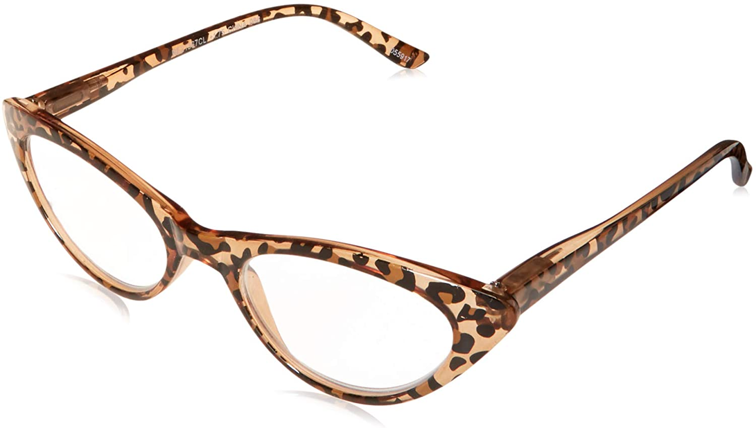 The Brit Cat Eye Reading Glasses, Full Frame Readers for Women +1.75 Brown Leopard (1 Microfiber Cleaning Pouch Included)