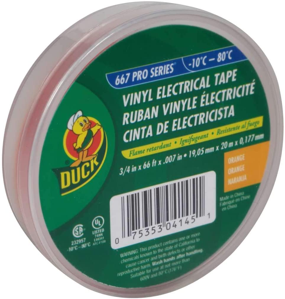 Duck Electrical Tape Duck 3/4  X 66  7 Mil Thickness 660 V 221 Deg F Orange