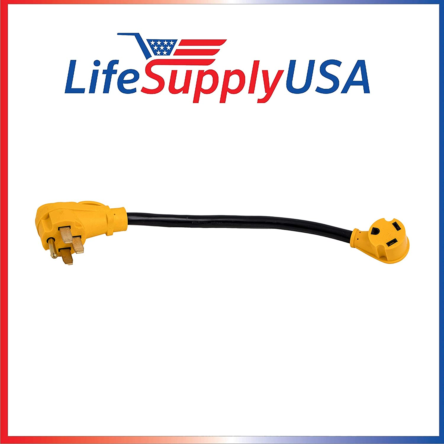 LifeSupplyUSA 50 Pack - STW 10AWG 18 Inch 50M/30F Heavy Duty Electrical Adapter for RV with Handle, Male: 50 AMP NEMA 14-50P to Female: 30 AMP TT30R 18