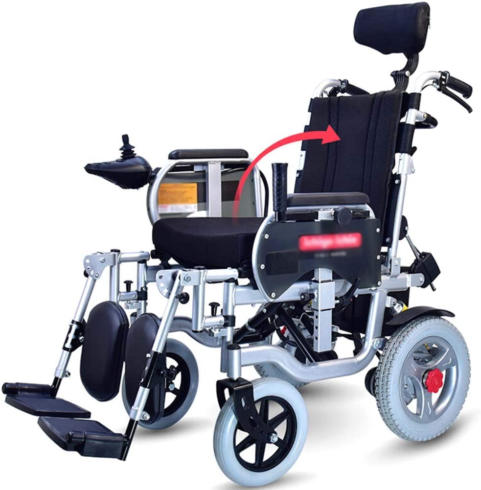 WPOSD Folding Electric Wheelchair with Headrest,Lightweight Portable Powerchair,Dual Function Elderly Disabled Intelligent Automatic Scooter Drive with Electric Power Or Use As Manual Wheelchair
