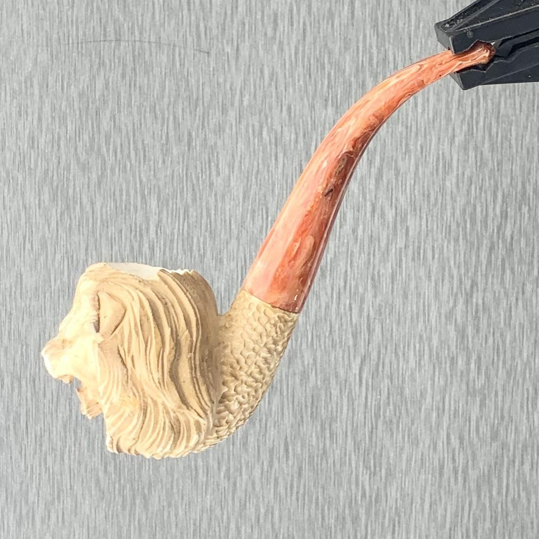 Meerschaum Lion Showing Teeth Burnt Finish Tobacco Pipe Full Bend by Paykoc M01132