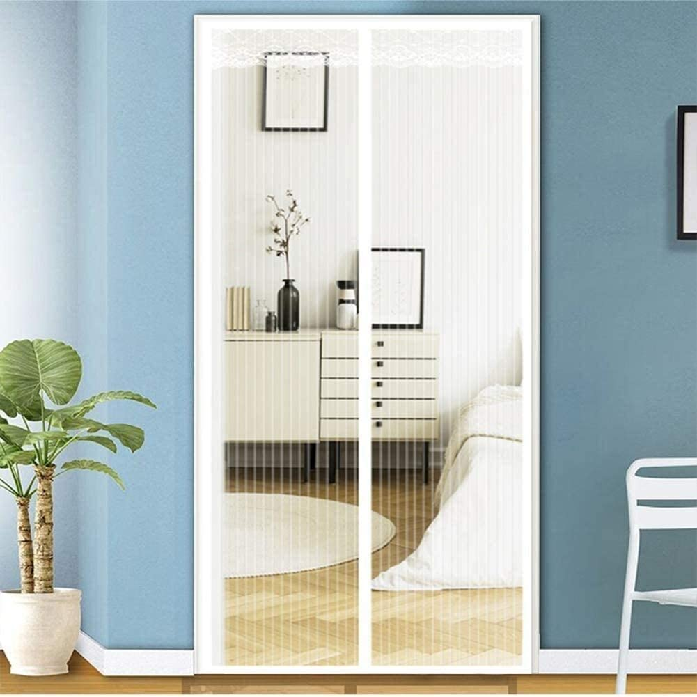 LAMZ Magnetic Screen Door for Hands Free French Sliding Glass Door Patio Super Tight Fiberglass Fly Bug Net with Heavy Duty Reinforced Magnets and Mesh Curtain White 0807