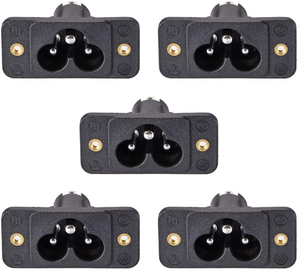 uxcell C6 Panel Mount Plug Adapter AC 250V 2.5A/5A 3Pins IEC Inlet Module Plug Power Connector Socket Straight 5pcs