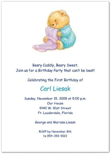 Soft & Cuddly with Blue PJs 1st Birthday Invitations - Set of 20