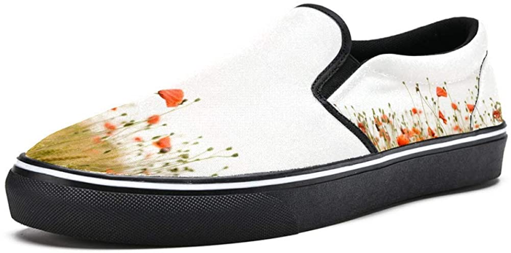 Unicey Poppy Flower Field Canvas Shoes Lightweight Loafers Shoe for Woman