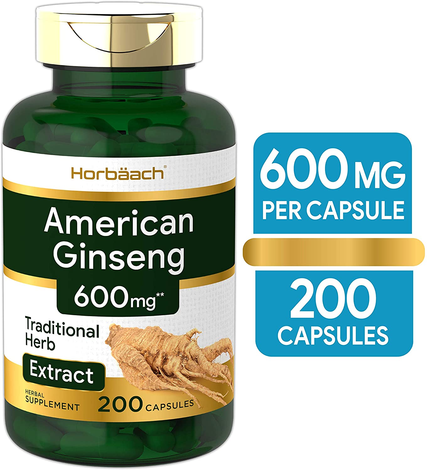 American Ginseng Capsules   600 mg   200 Count   Non-GMO, Gluten Free Supplement   Ginseng Root Extract Complex   by Horbaach