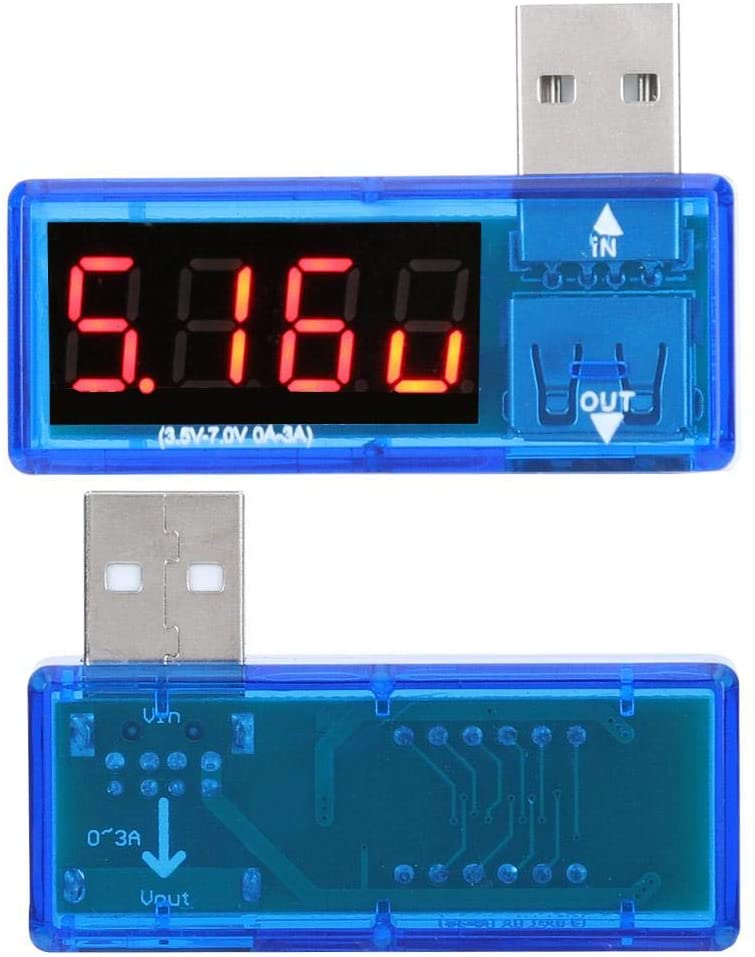 2PCs USB Detector Current Voltage Tester for Mobile Phone Chargers(Blue)