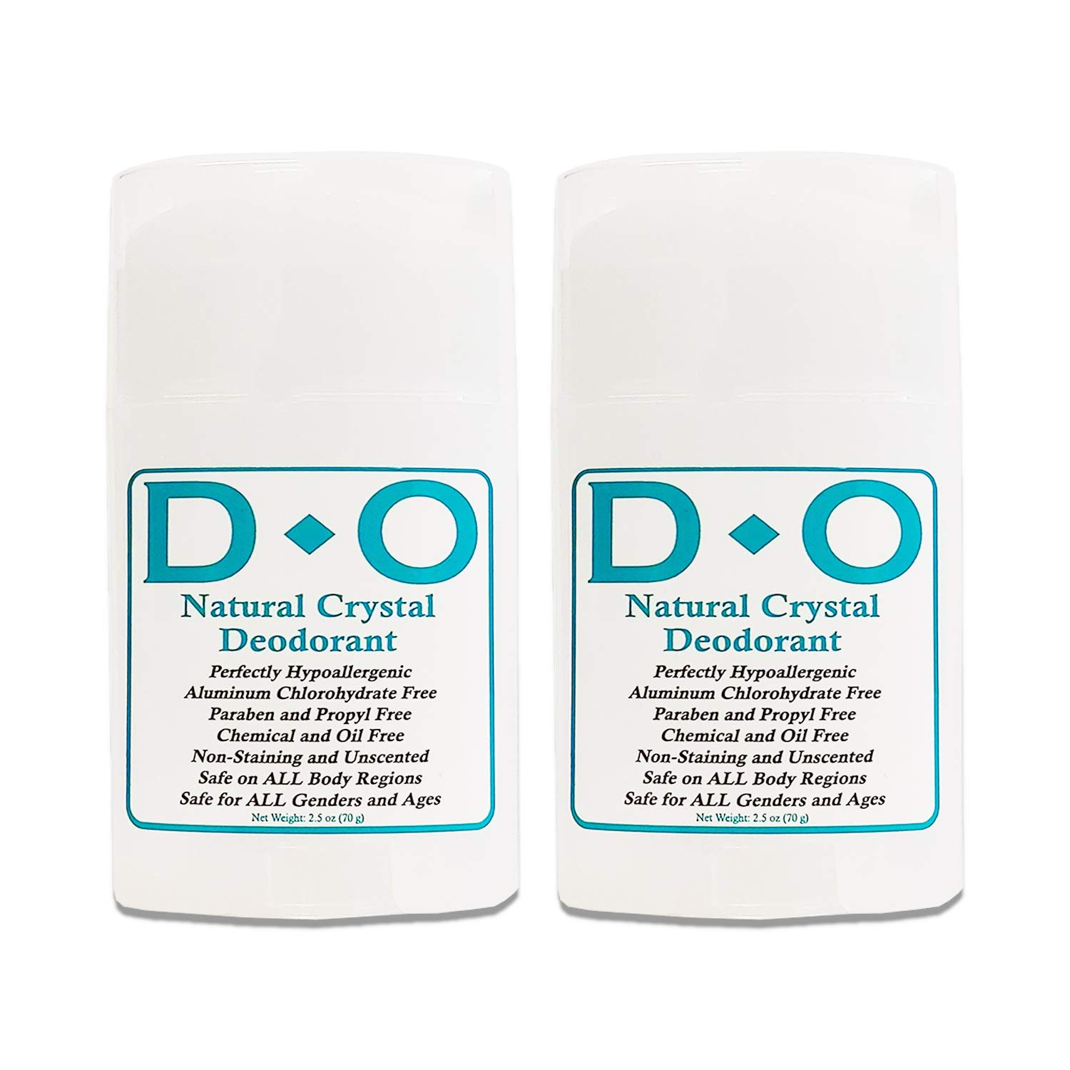 D-O 100% Natural, Crystal Deodorant Wide Stick, 70 G, No Aluminum Chlorohydrate, Parabens, Propyls, or Other Chemicals (2 Pack)