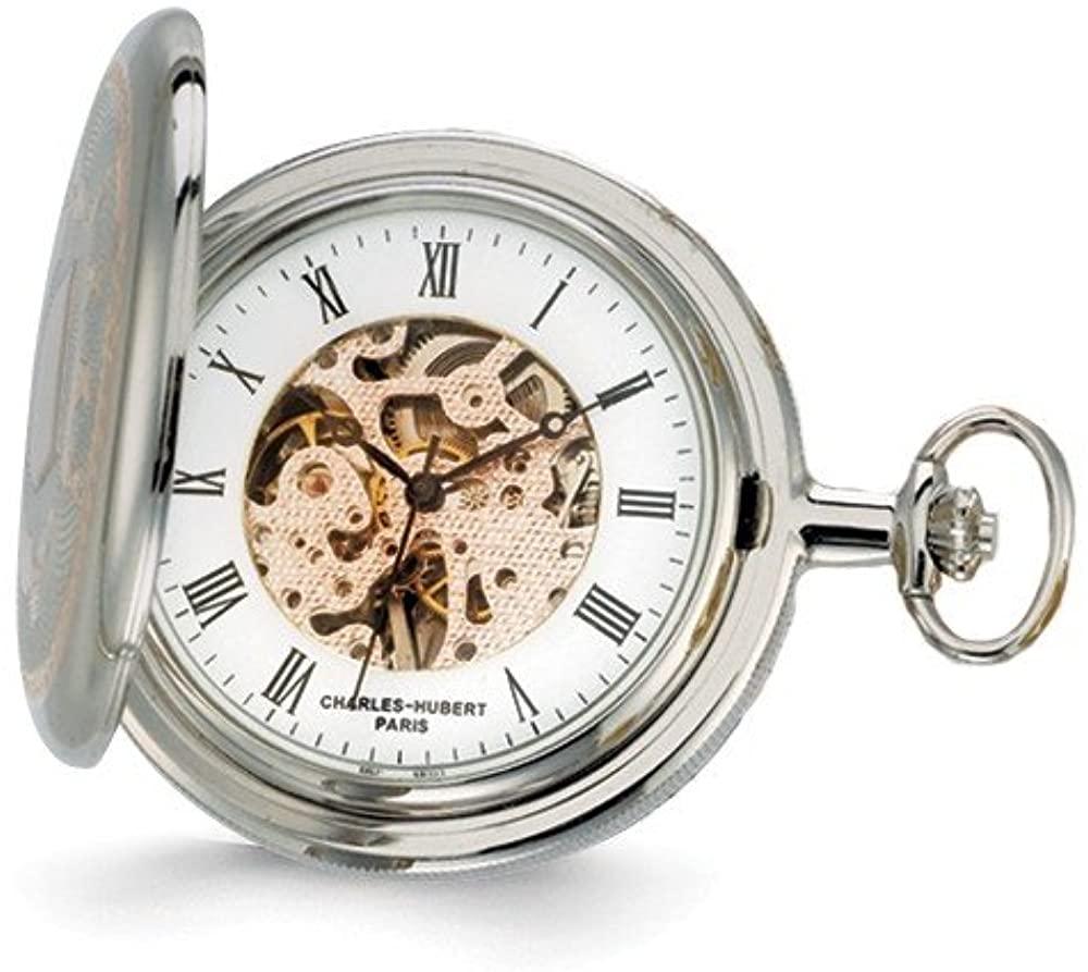 Charles Hubert 2-Tone Rose Finish 17Jewel Brass Pocket Watch 14.5