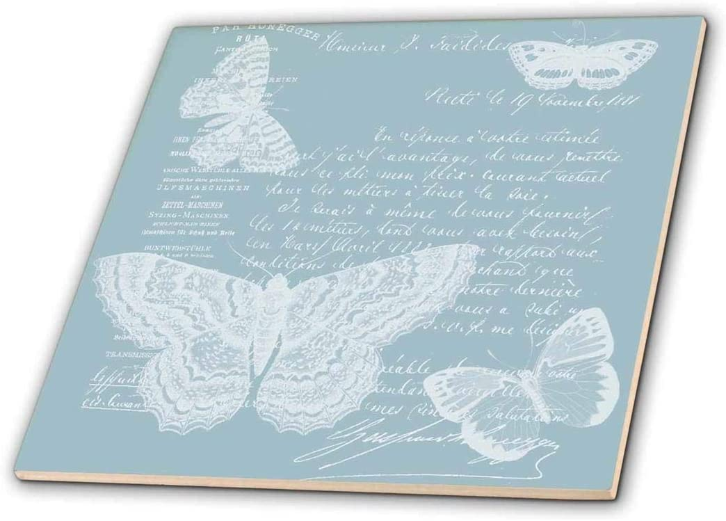 3dRose ct_178897_1 Blue and White French Butterflies Vintage-Ceramic Tile, 4-Inch