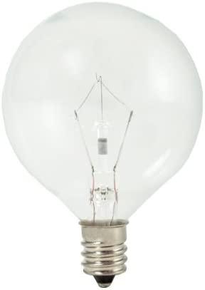 Bulbrite 461260 KR60G16CL 60-Watt Dimmable Krypton Krystal Touch Globe G16, Candelabra Base, Clear (Pack of 4)