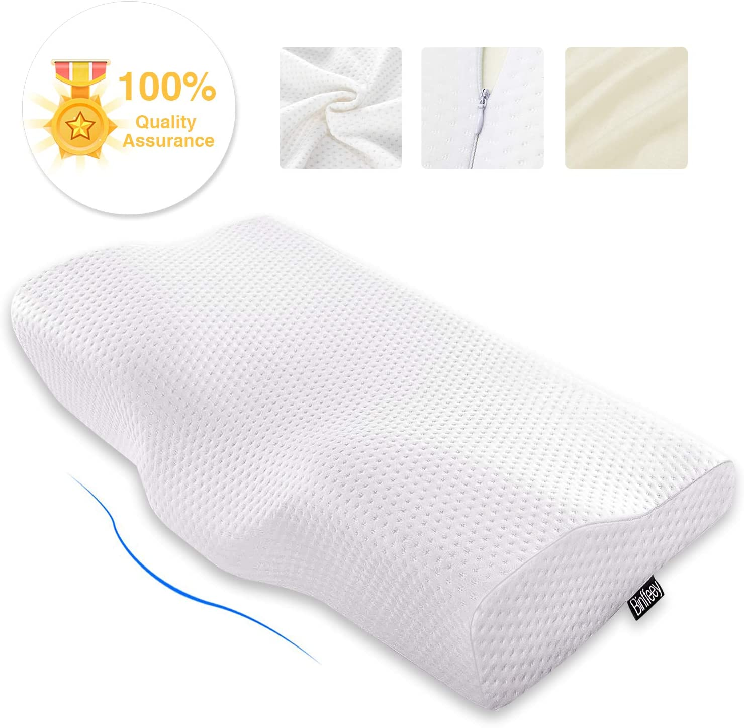Binffeey Memory Foam Pillow-Memory Foam Pillows for Sleeping Orthopedic Memory Foam Pillow for Neck Pain,Cervical Contour Pillow,Neck Support Bed Pillow with Washable Pillowcase