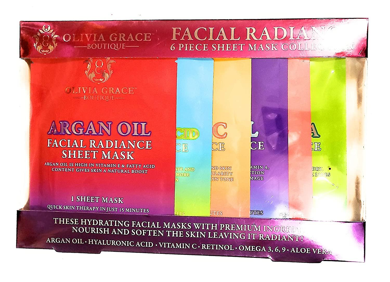 Olivia Grace Facial Radiance 6 Piece Sheet Hydrating Facial Mask Collection