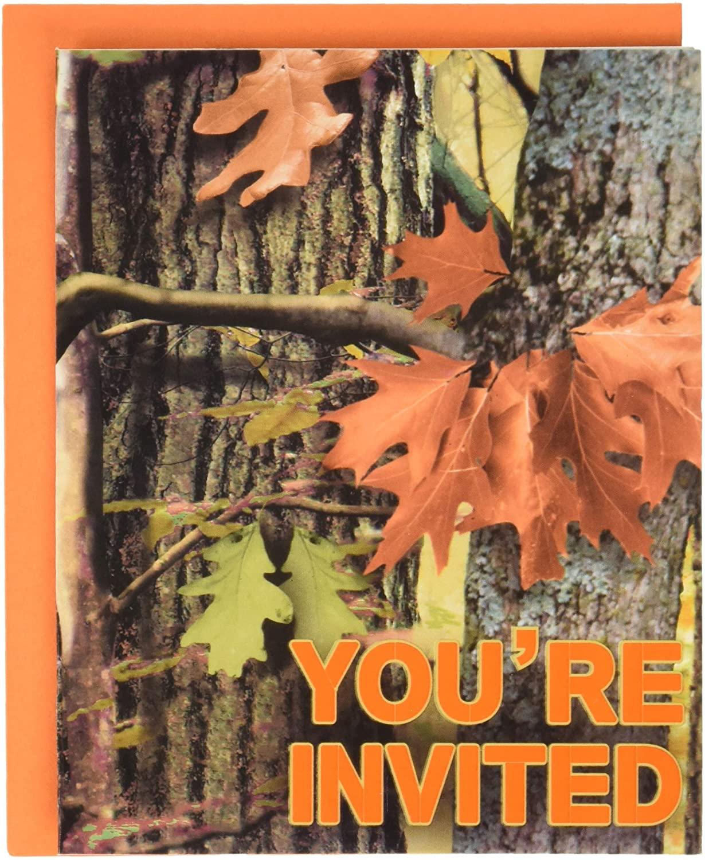 Creative Converting Hunting Camo Invitations, One Size, Multicolor