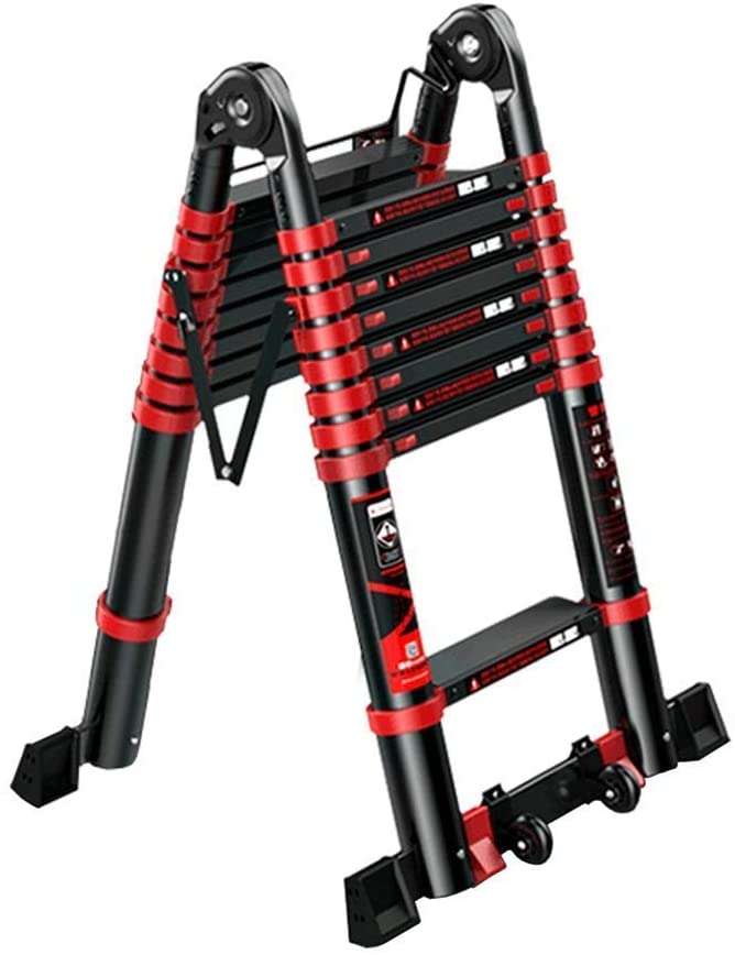 LADDERS Ladder Telescopic Ladders,Multi Purpose Telescopic Ladders for Building Supplies, Portable Professional Telescoping Ladder with Heavy Duty Wheel, 330Lbs Load,1.7M/66.9Ft