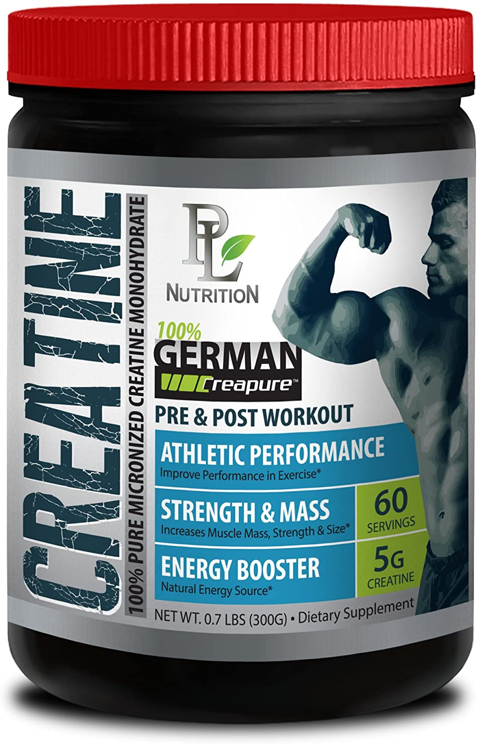 Endurance Booster - German CREATINE Powder - MICRONIZED CREATINE MONOHYDRATE CREAPURE 300G 60 Servings - Energy Supplements - 1 CAN