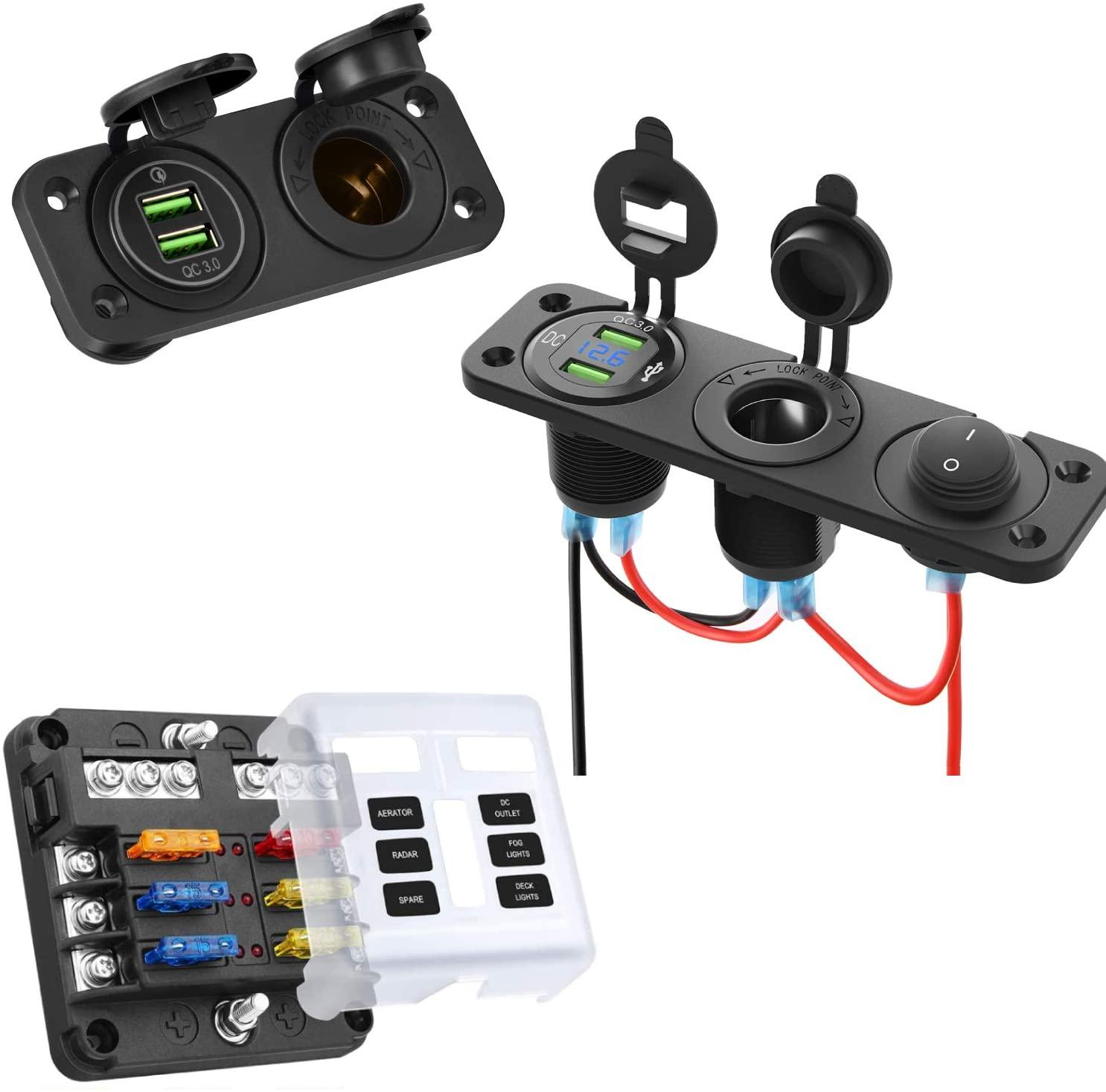 Kohree 12 Volt Accessories Bundle- 6 Way 12V Blade Fuse Block & 12V Marine Boat Cigarette Lighter Socket & QC3.0 12V USB Outlet Panle