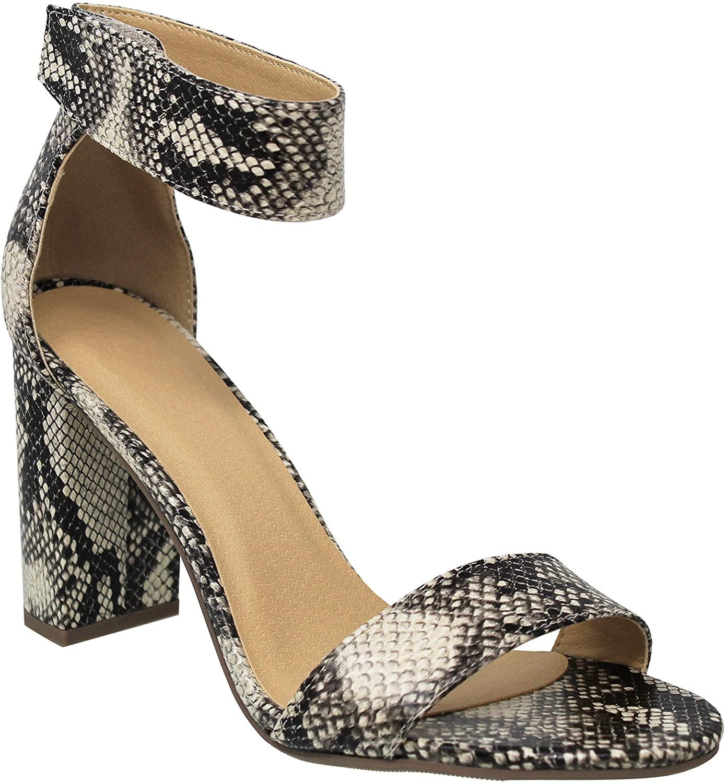 MVE Shoes Womens Heeled Sandal Chunky Block Heel Ankle Strap Open Toe
