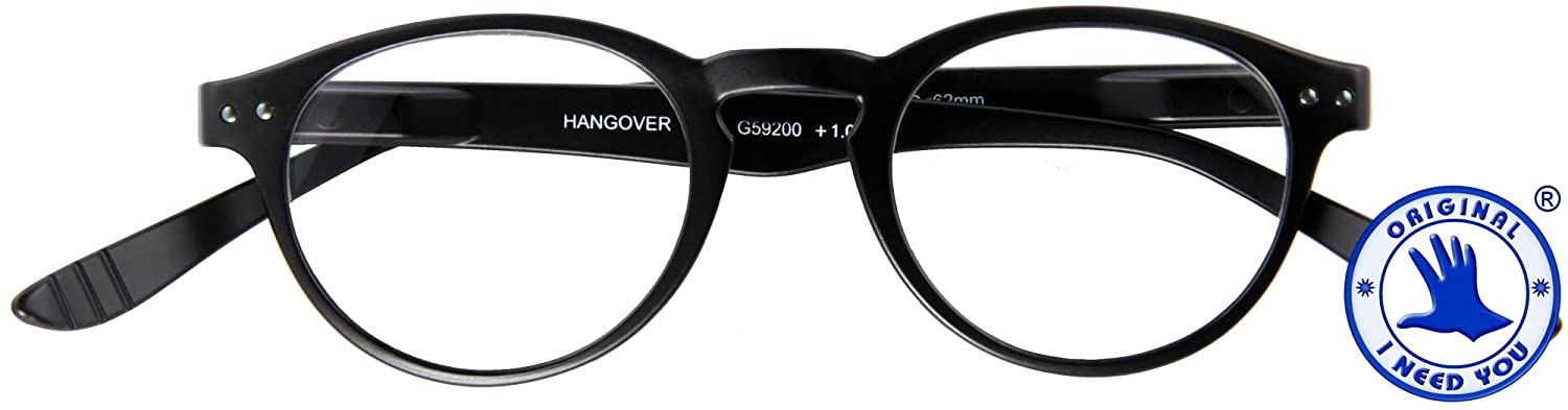 I NEED YOU Readers Black Hangover Panto Plastic Frame With Extra Long Spring Temples Reading Glasses +2.0 Strength Or Choose Your Power