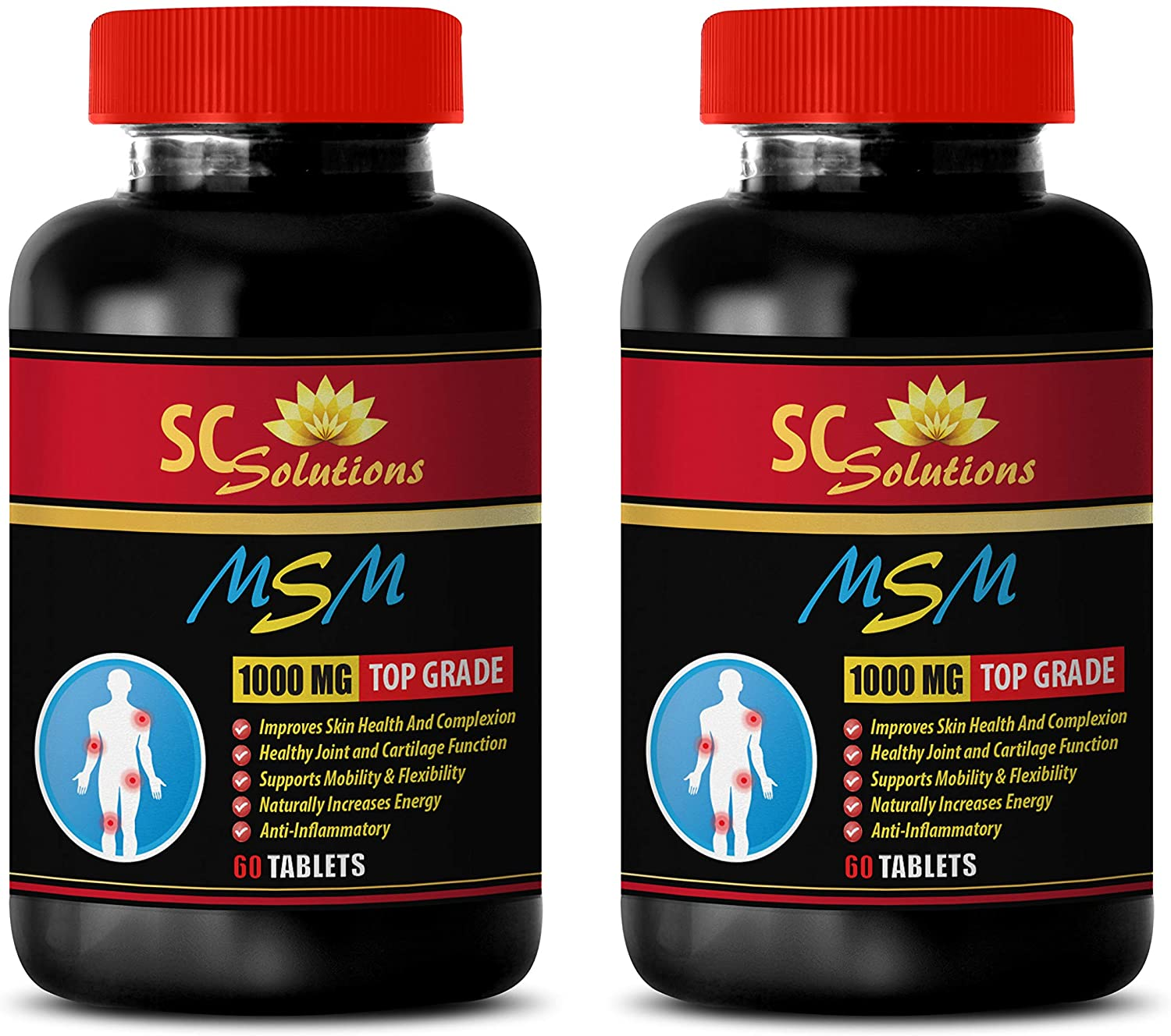 Natural Energy Support - MSM (Methylsulfonylmethane) - Hair msm - 2 Bottles 120 Tablets