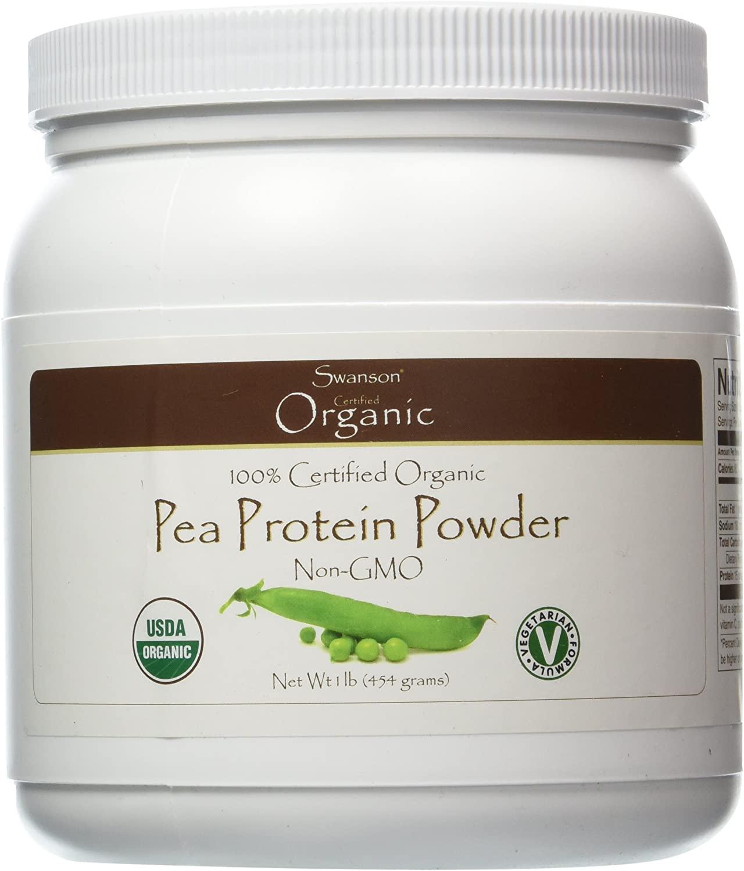Swanson 100% Certified Organic Pea Protein Powder Non-GMO 1 lb (454 Grams) Pwdr