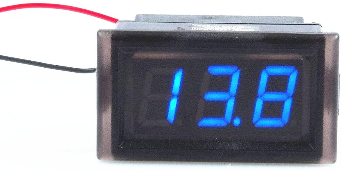 KNACRO Waterproof Monitor 2-Wires DC 3.5-150v 12v 24v 36v 72v 96v 120V 150V Volt Battery Meter Voltage Tester Automative Electric Cars Gauge Small Digital Voltmeter RED 0.52