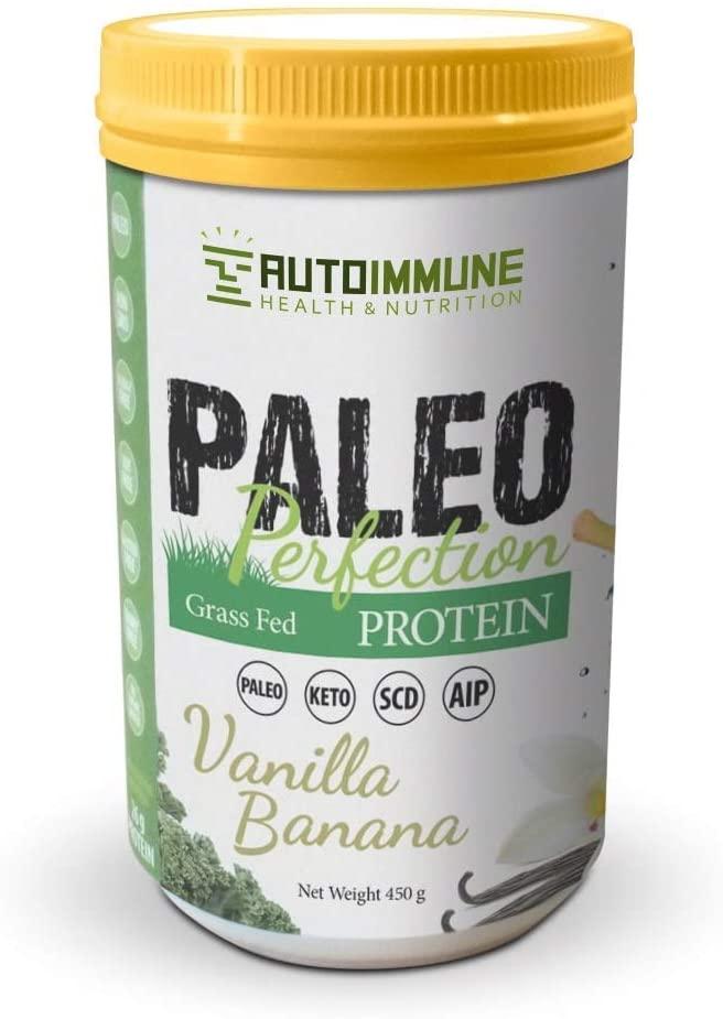 Autoimmune Health - Paleo AIP Protein Powder   Grass-fed Beef Collagen   Vanilla Banana Flavor   1 Pound 30 Servings