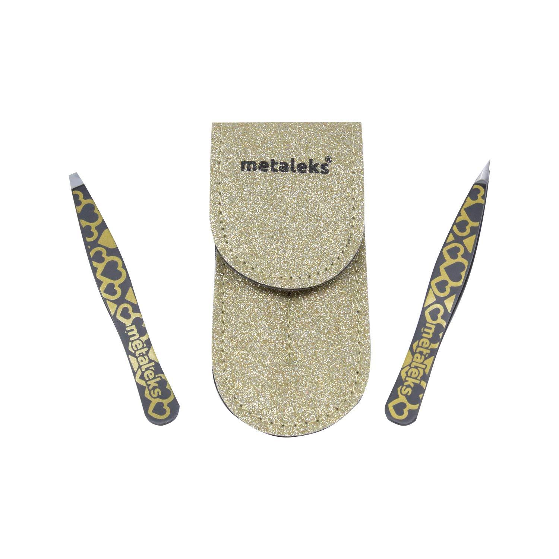 Metaleks 2Pcs Eyebrow Tweezers Set In Golden Glitter Pouch