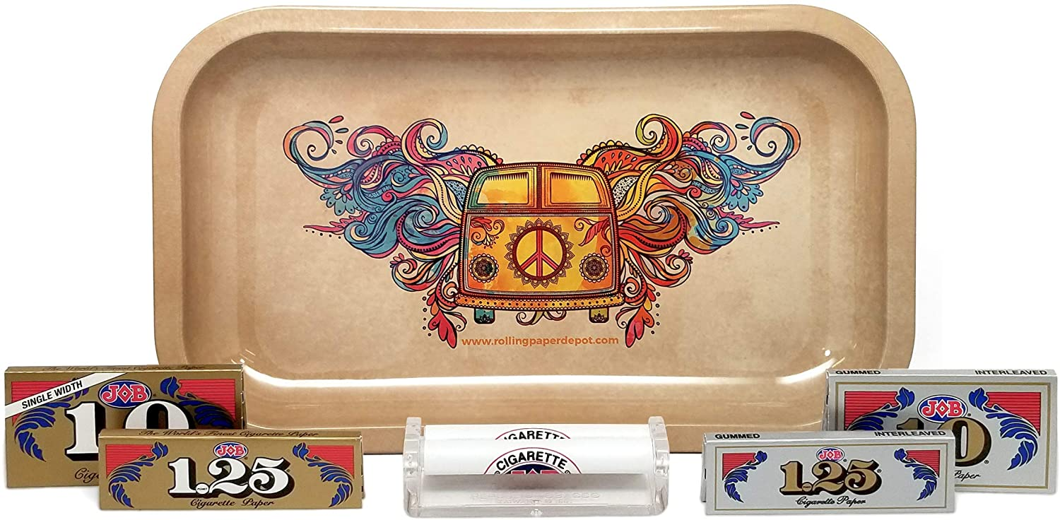 Job Rolling Paper Assortment (1 and 1.25 in Gold and Silver) with Job 79mm Cigarette Roller and Rolling Paper Depot Rolling Tray – 6 Items – Bundle (Hippie Van)