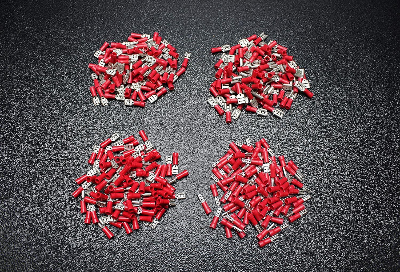 100 PK 18-22 Gauge Vinyl Quick Disconnect Female 25 PCS Each .110 .187 .205 .250