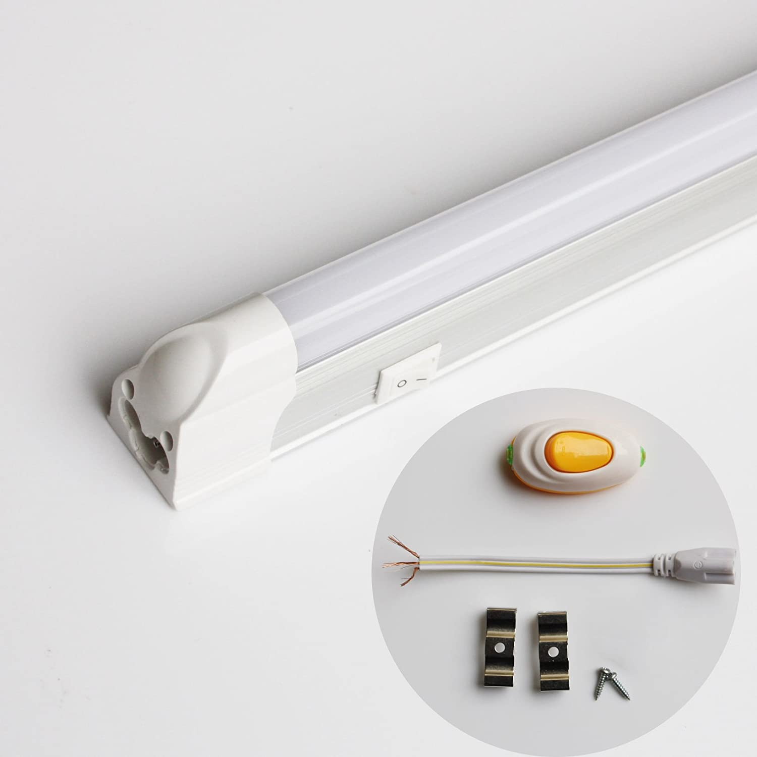 BYOPTO 1 Pcs T5 Integrated LED Fluorescent Replacement Tube with build in switch on shell(60cm+Power switch,Cool White 6000k-6500k)
