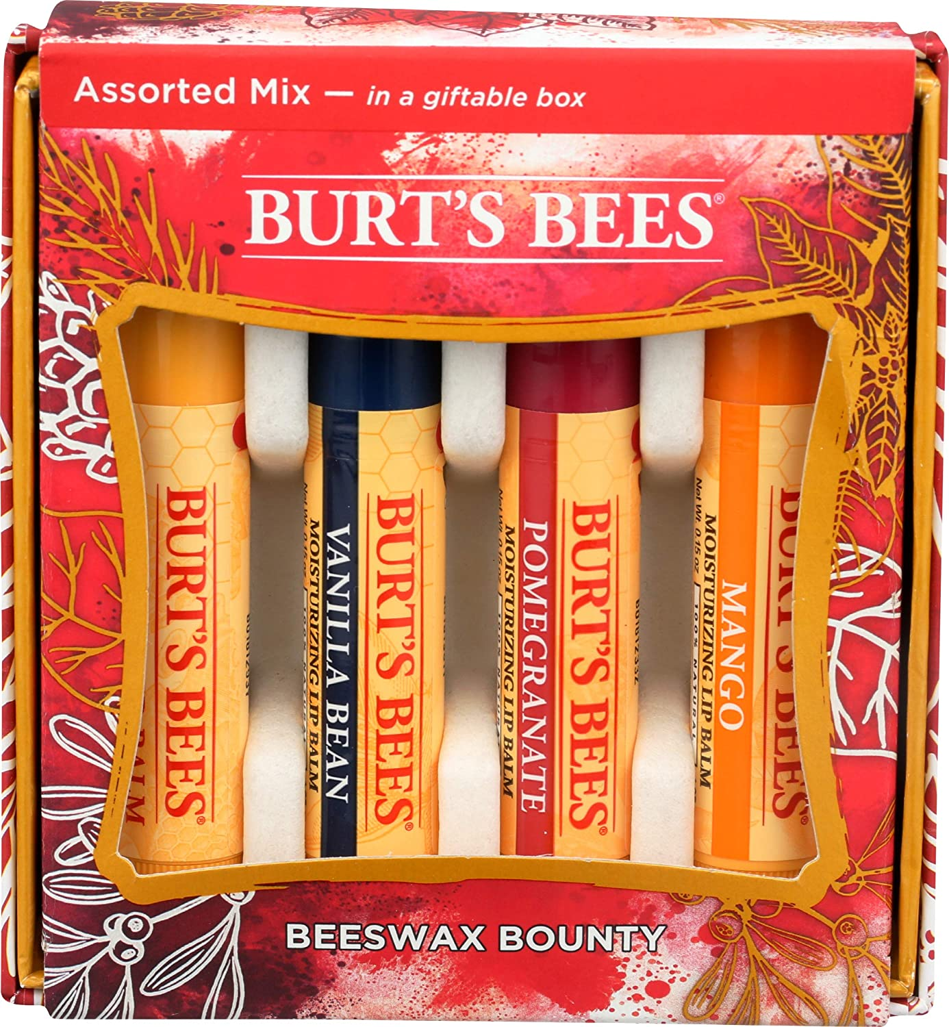 Burts Bees, Lip Balm Gift Pack Beeswax Bounty Assorted Mix, 1 Count
