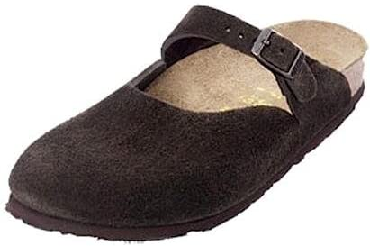 Birkenstock Womens Rosemead Mocha Suede Leather Clog Shoe (with Contoured and Flexible Cork/Latex Footbed)