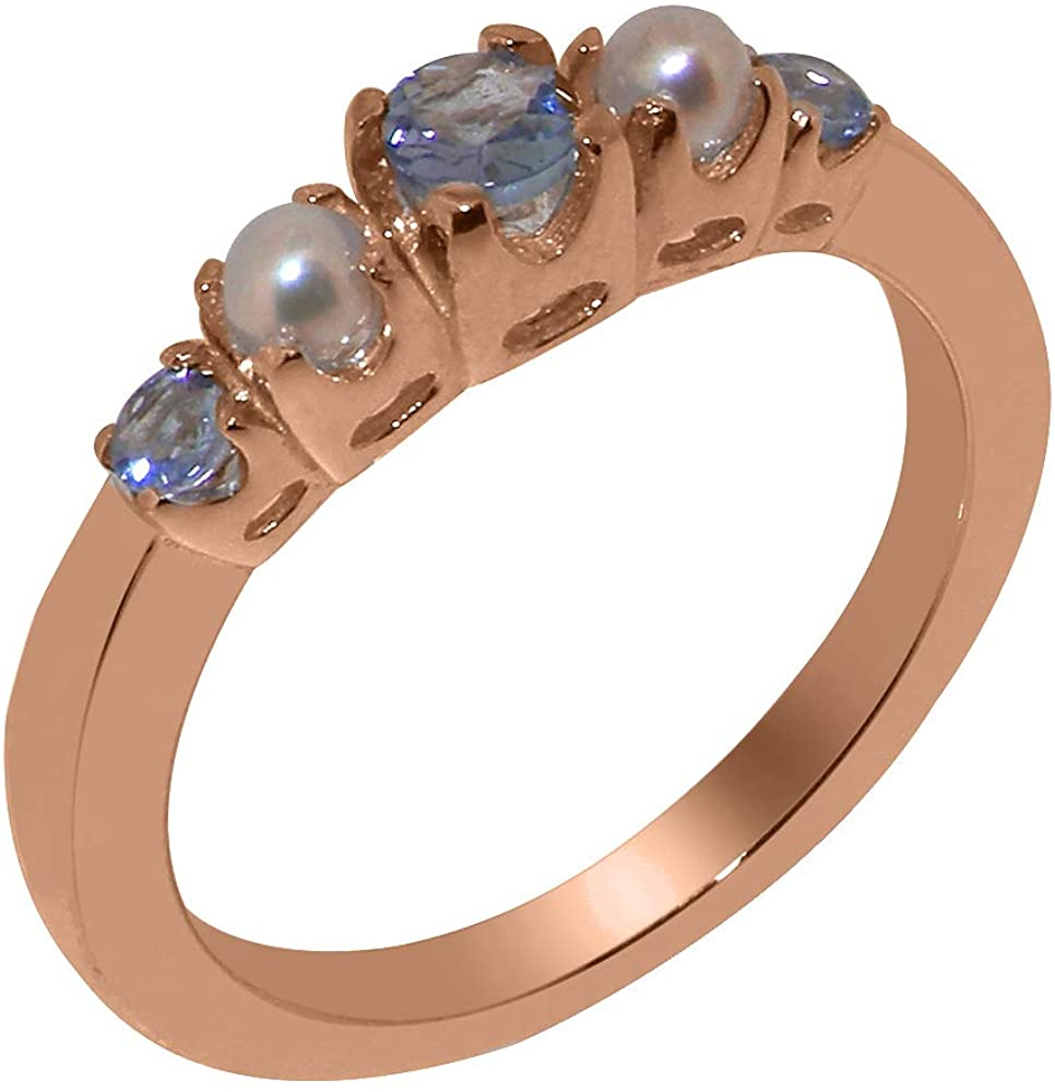 Solid 14k Rose Gold Natural Tanzanite & Cultured Pearl Womens band Ring - Sizes 4 to 12 Available