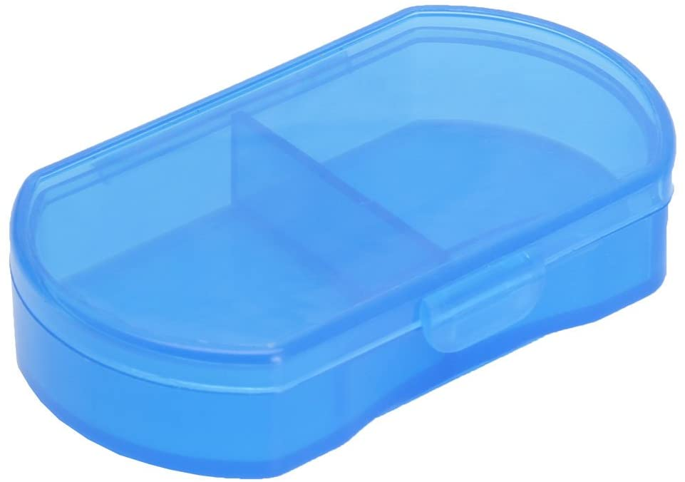 BecauseOf 2 Compartments Pill Box Supplement Case for Pocket or Purse, Travel Medication Organizer Case (Blue)