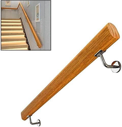 Indoor Loft Elderly Corridor Stair Banister Handrail, Non-Slip Round Solid Wood Banister Rail With Wall Brackets Support Rod Pine Safety Stair Banister Handrails 1ft-20ft 0721 (Size : 9ft/270cm)