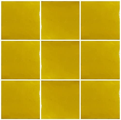 Ceramic Talavera Mexican Tile 4x4, 9 Pieces (NOT Stickers) A1 Export Quality! - Colonial Yellow Brush