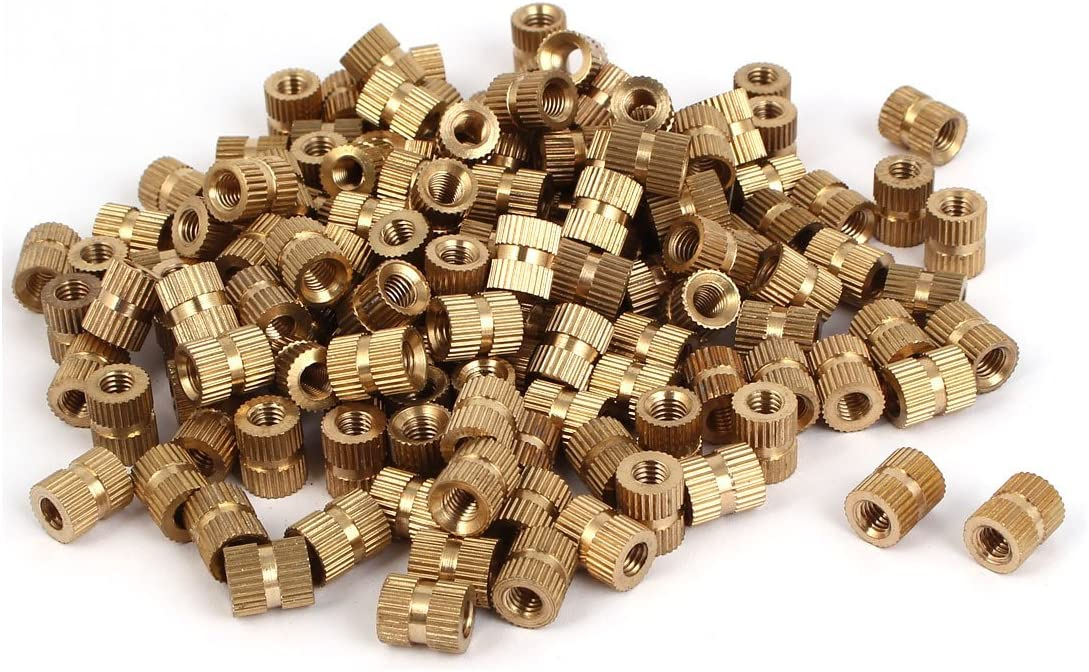 ELECTROPRIME 10mm Length M5 Thread Brass Cylinder Injection Molding Knurled Insert Nuts 200PCS