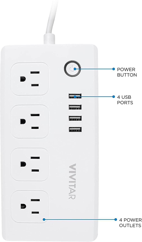 Vivitar Smart Home Power Strip, Multi Plug with 4 USB Ports (HA-1007)