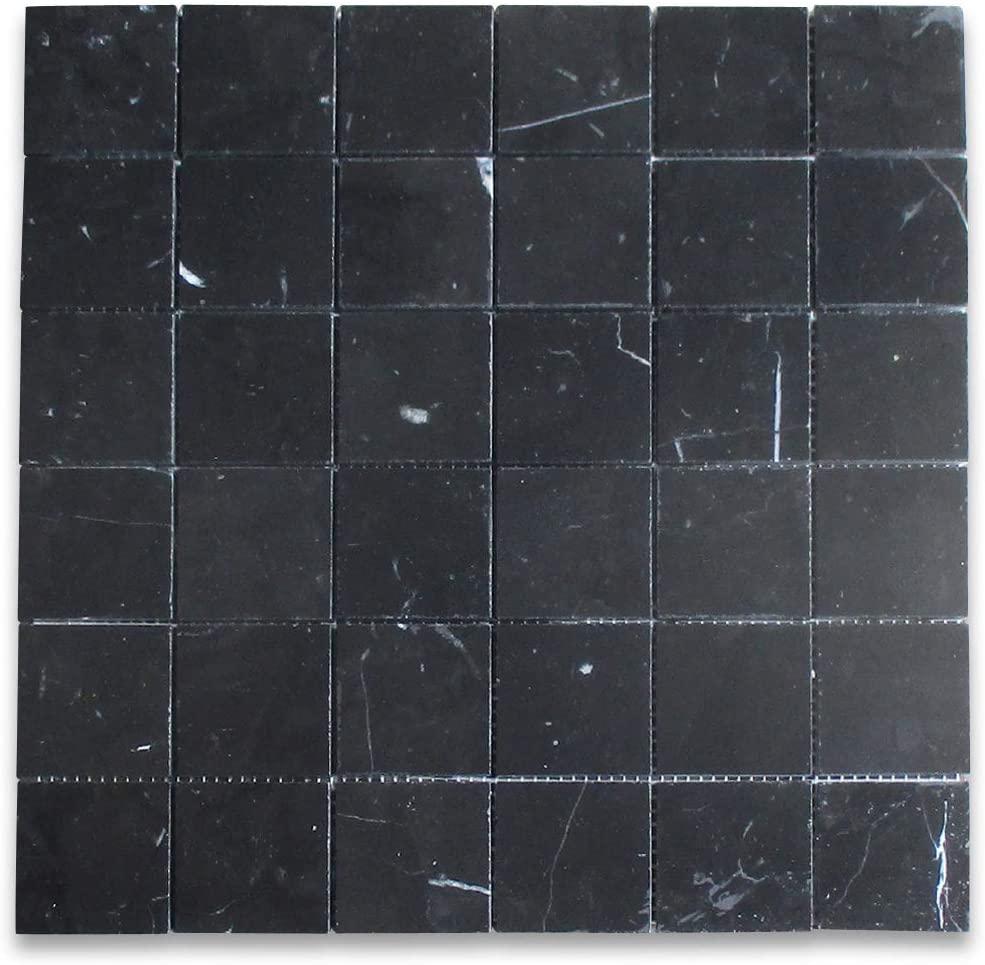 Stone Center Online Nero Marquina Black Marble Square Mosaic Tile 2