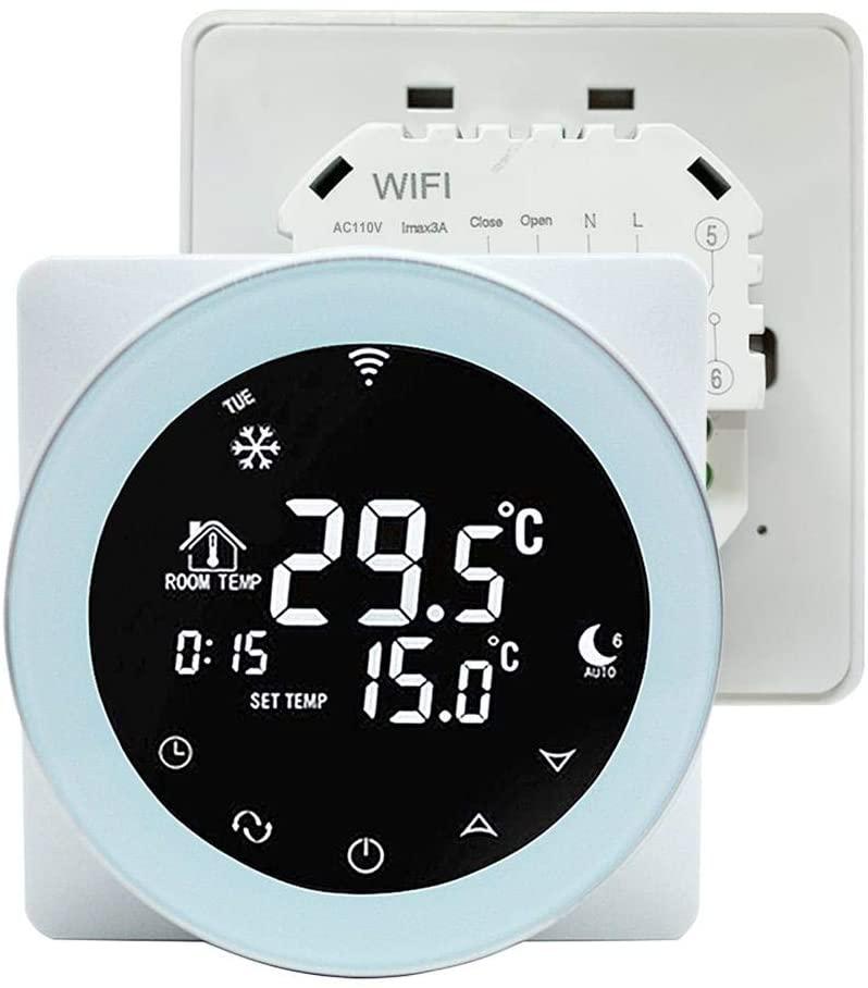 Smart Digital WiFi Temperature Controller, WiFi Temperature Controller Thermostat for Alexa/Google Home (White US)