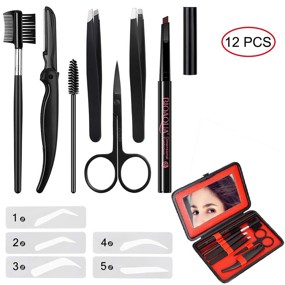 Eyebrow Kit MIBLUE Pencil Eyebrow Razor Set Brush Eyebrow Tweezers Eyebrow Comb Eyebrow Scissors Eyelash Tools for Men and Women (Brown Pencil)