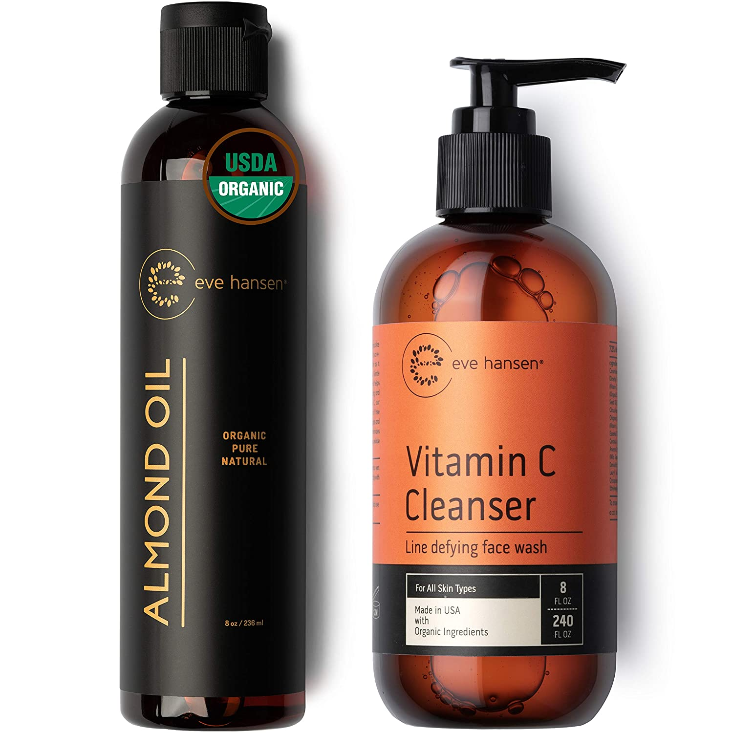 Eve Hansen Natural Double-Cleanse Set   Full Size Organic Almond Face Oil (8 oz) to Remove Makeup   Vitamin C Face Wash (8 oz) to Cleanse Skin of Remaining Impurities
