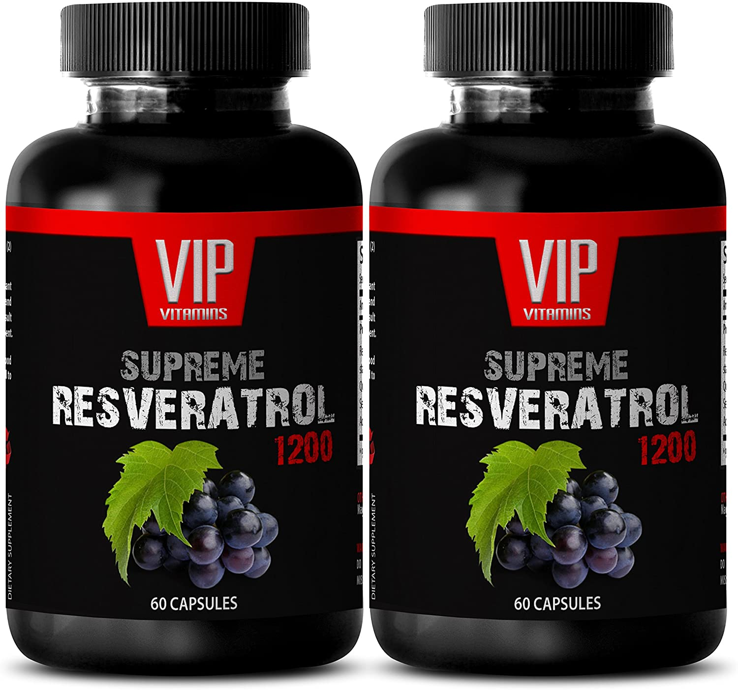 Antioxidant and Weight Loss Supplement - Supreme RESVERATROL 1200Mg - Resveratrol Plus Supplement - 2 Bottles 120 Capsules
