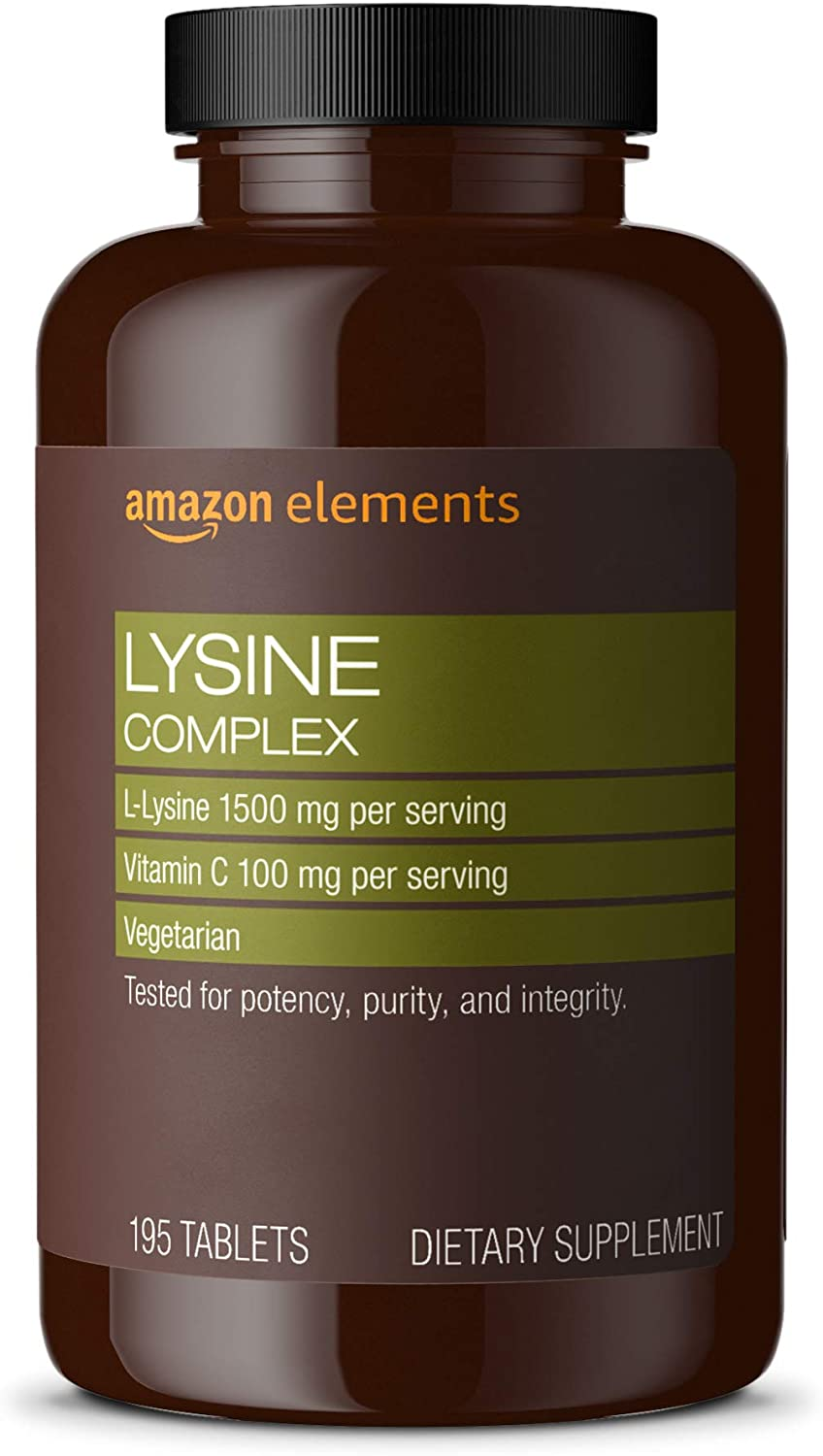 DHgate Elements Lysine Complex with Vitamin C, 1500 mg L-Lysine with 100 mg Vitamin C per Serving (3 Tablets), Supports Immune Health, Vegetarian, 195 Tablets (Packaging may vary)