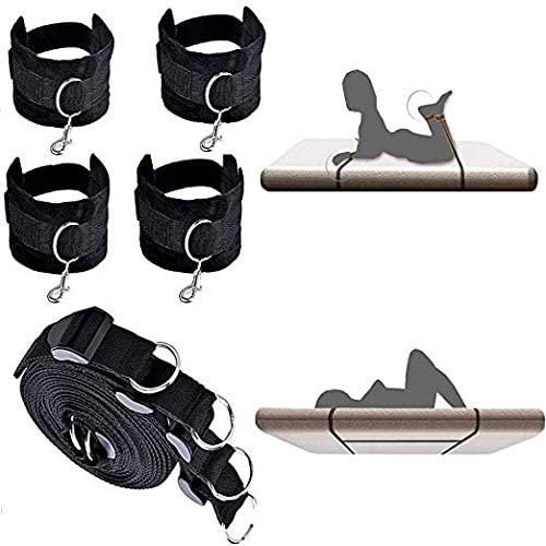 Siminey Comfortable Plush Běd Bon'gágě Stráps Kit Adûllt Couple B'éd Suit Toys Set with Wrist and Ankle Cuffs for Women Men (Black)