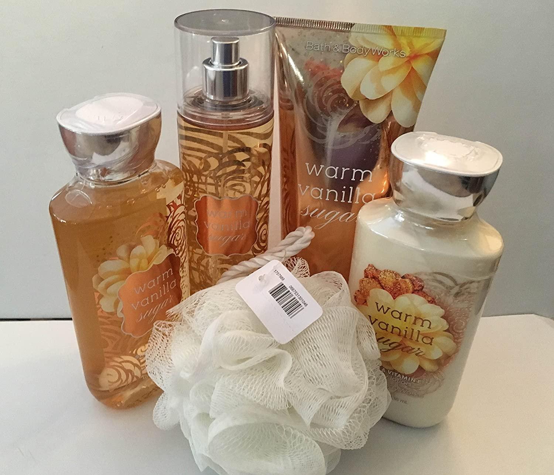 Bath & Body Woks Warm Vanilla Sugar 5 Piece Gift Set~Full Size Cream, Lotion, Shower Gel, Fragrance Mist & Shower Sponge
