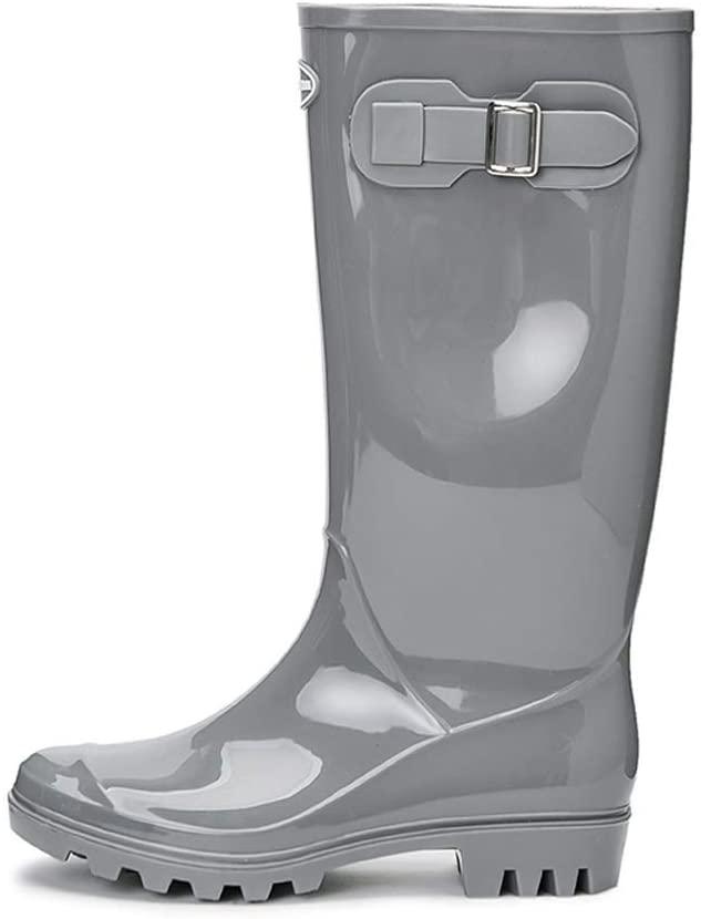 Women's Rain Boots Waterproof Garden Shoes Non-Slip Wear-Resistant Rain Boots with Buckle Design Non-Slip (Color : Temperament Gray, Size : 40)