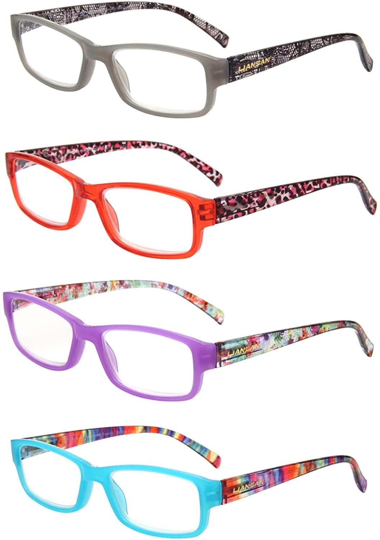 LianSan Readers 4 Pack Spring Hinged Rectangular Reading Glasses Comfort Prescription Eyeglasses L3710(+2.50)