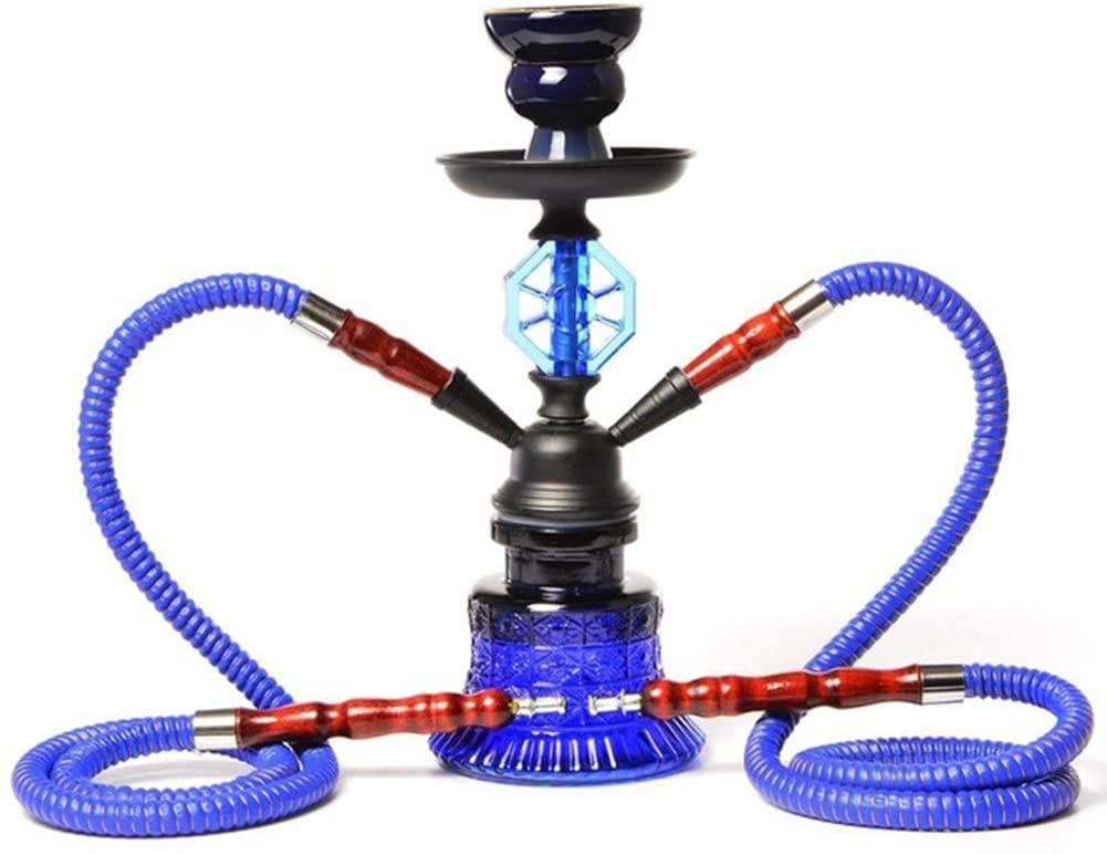 HEWEI Shisha Set Shisha Double Pipe Set Shisha-Shisha Complete Set Blue